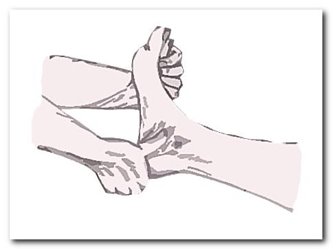 Растирание большим пальцем одной руки