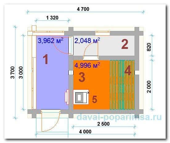 Планировка бани 3x4 метров – общий план