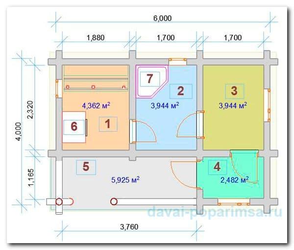 Планировка бани 6x4 метров