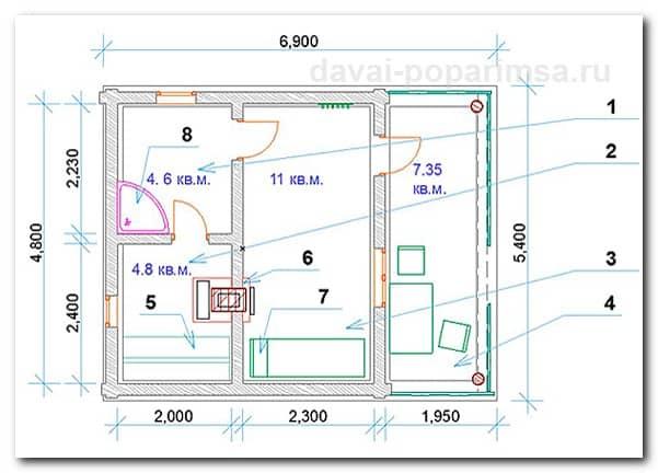 Планировка бани с террасой на три помещения