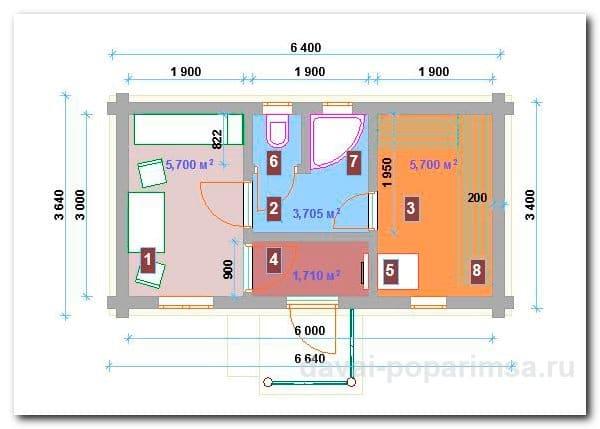 Русская баня 6х3 метров – основная планировка