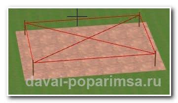 Ленточный фундамент для бани - проверка диагоналей