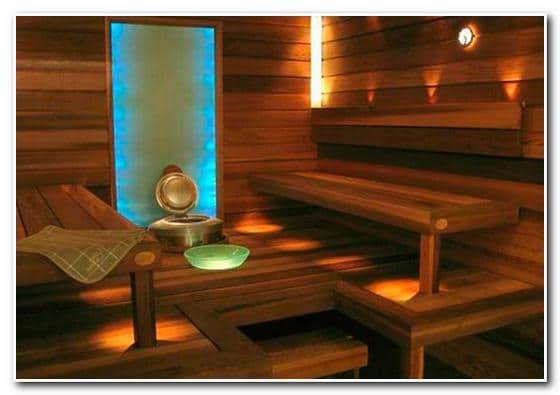 Освещение в бане – пример дизайна парной