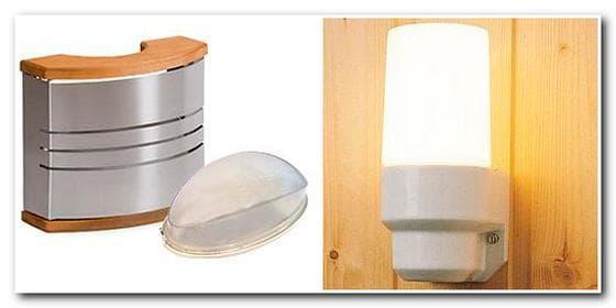 Освещение в бане с помощью ламп накаливания