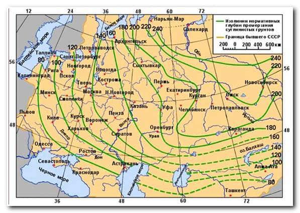 Расчет фундамента — карта промерзания грунтов