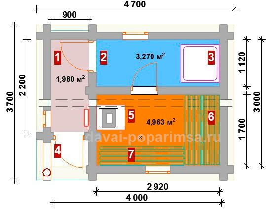 Эскиз планировки русской бани 3х4 метров.