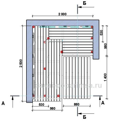 План полков для бани