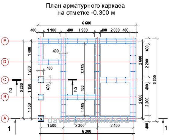 План арматурного каркаса для фундамента бани 5x6 метров