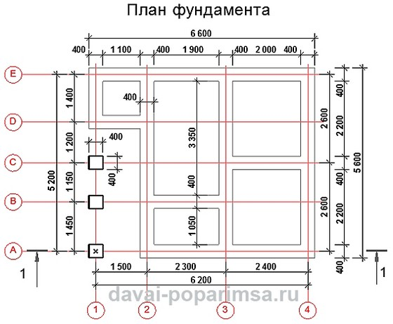 План фундамента для бани 5x6 метров