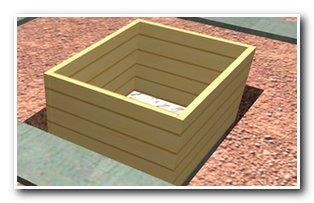 Опалубка для бетонного фундамента под печь в бане