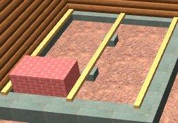 Схема монтажа подкладных брусьев под пол в бане