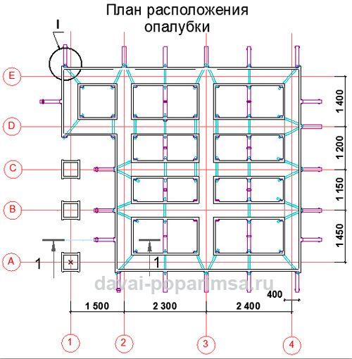 План расположения опалубки для бани 5x6 метров
