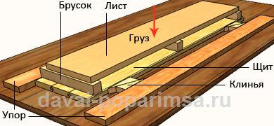 Лавки для бани - склеивание щита для сидения