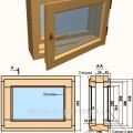 Общий вид деревянного окна для бани