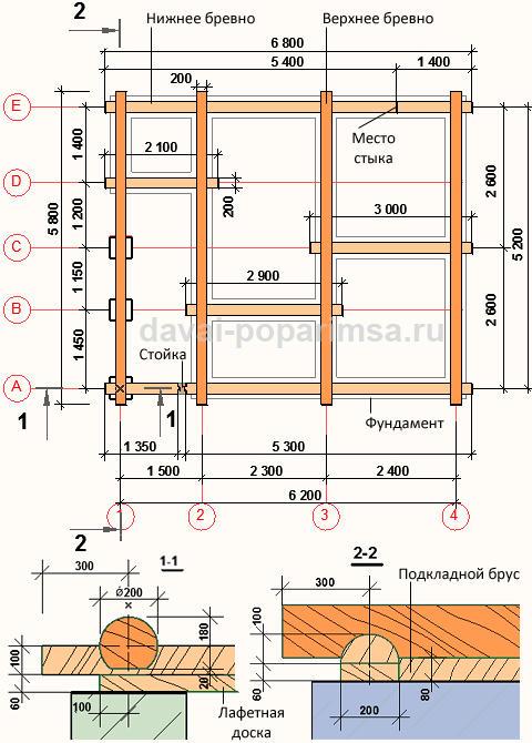 Общий план первого венца сруба бани