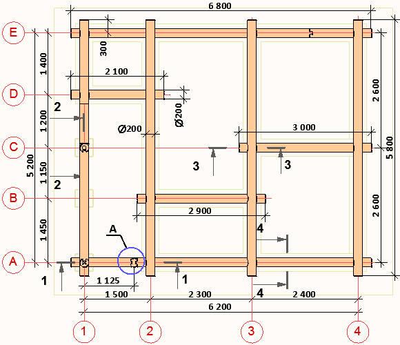 План бревенчатых стен бани 5x6 метров