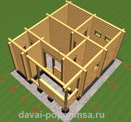 Вид сверху на баню с обсадными коробками для окон и дверей.
