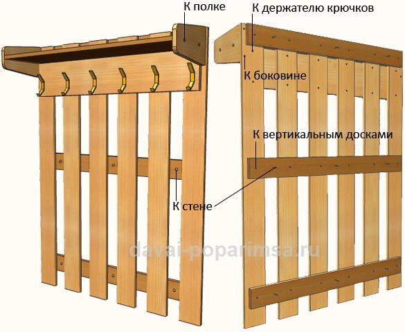 Настенная деревянная вешалка своими руками для бани